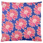 Pink Daisy Pattern Large Flano Cushion Case (One Side) Front
