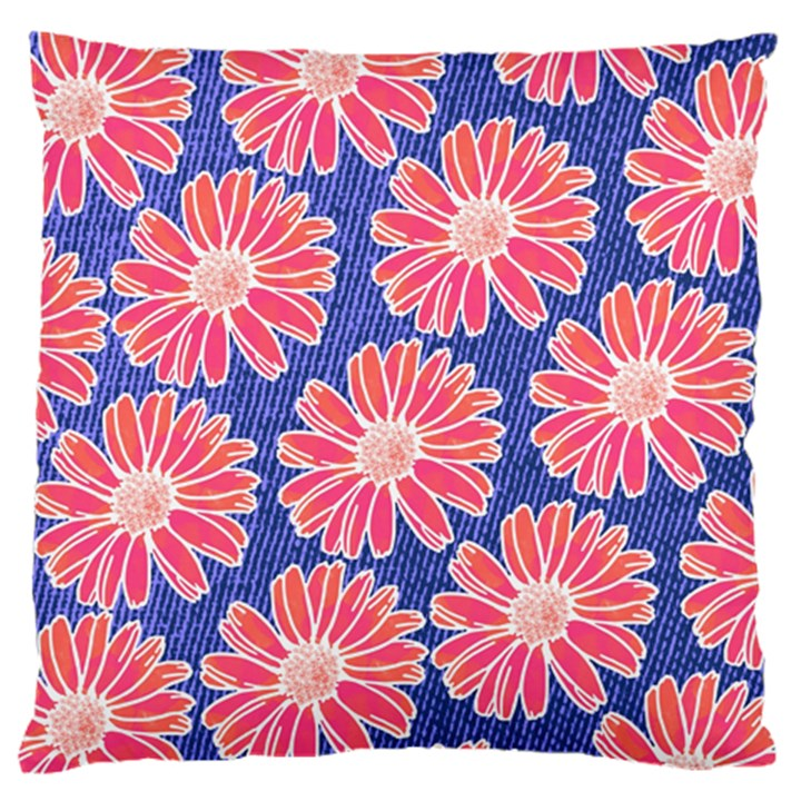 Pink Daisy Pattern Large Flano Cushion Case (One Side)