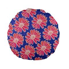 Pink Daisy Pattern Standard 15  Premium Flano Round Cushions by DanaeStudio