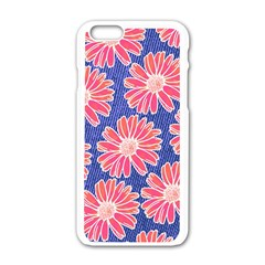 Pink Daisy Pattern Apple Iphone 6/6s White Enamel Case by DanaeStudio