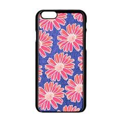 Pink Daisy Pattern Apple Iphone 6/6s Black Enamel Case