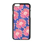 Pink Daisy Pattern Apple iPhone 6/6S Black Enamel Case Front