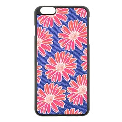 Pink Daisy Pattern Apple Iphone 6 Plus/6s Plus Black Enamel Case by DanaeStudio