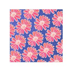 Pink Daisy Pattern Small Satin Scarf (square)