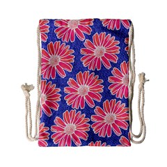 Pink Daisy Pattern Drawstring Bag (small)