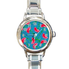 Carnations Round Italian Charm Watch by DanaeStudio