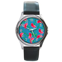 Carnations Round Metal Watch by DanaeStudio