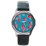 Carnations Round Metal Watch Front