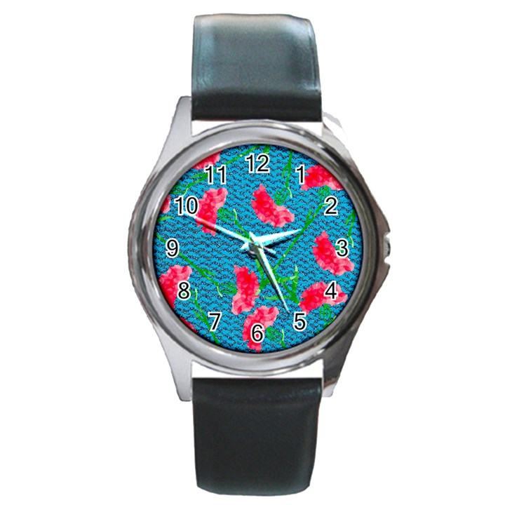 Carnations Round Metal Watch