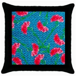 Carnations Throw Pillow Case (Black) Front