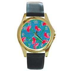 Carnations Round Gold Metal Watch