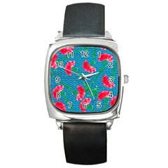 Carnations Square Metal Watch by DanaeStudio