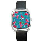 Carnations Square Metal Watch Front