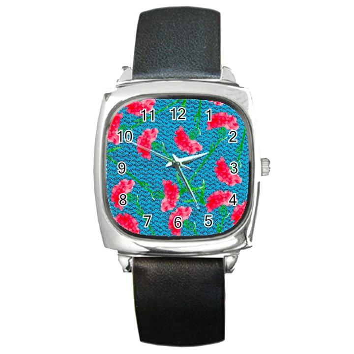Carnations Square Metal Watch