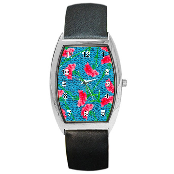 Carnations Barrel Style Metal Watch