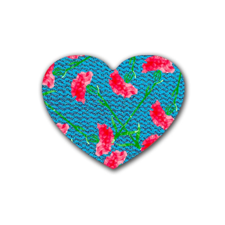 Carnations Rubber Coaster (Heart)