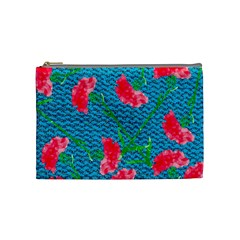 Carnations Cosmetic Bag (medium)  by DanaeStudio