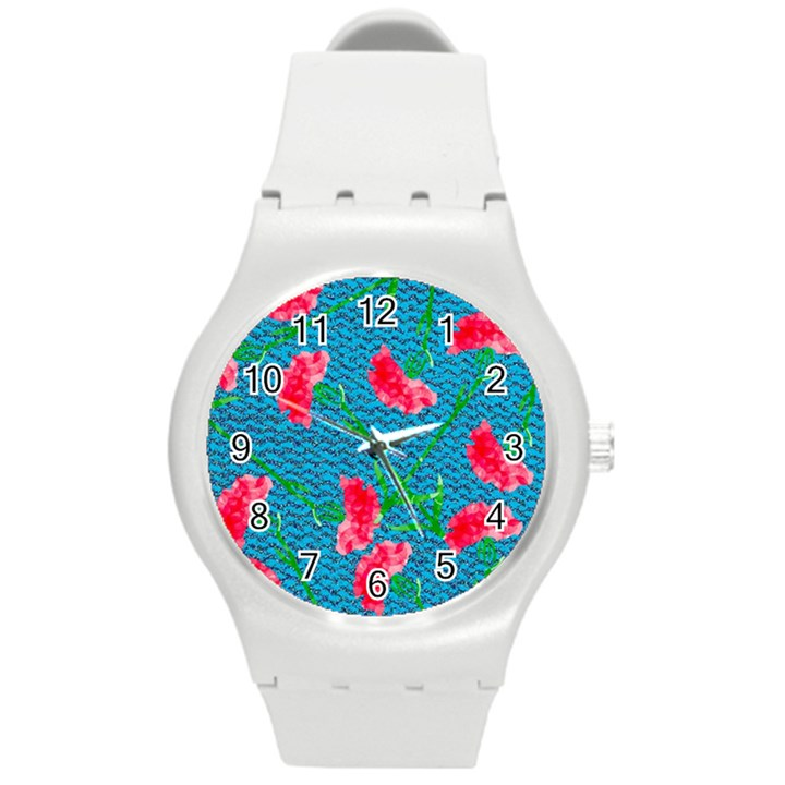 Carnations Round Plastic Sport Watch (M)