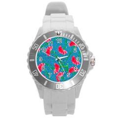 Carnations Round Plastic Sport Watch (l)