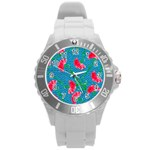 Carnations Round Plastic Sport Watch (L) Front