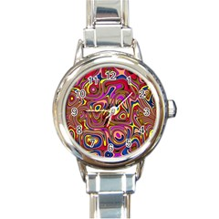 Abstract Shimmering Multicolor Swirly Round Italian Charm Watch