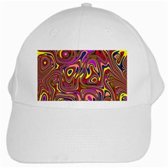 Abstract Shimmering Multicolor Swirly White Cap by designworld65