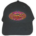 Abstract Shimmering Multicolor Swirly Black Cap