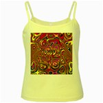 Abstract Shimmering Multicolor Swirly Yellow Spaghetti Tank Front