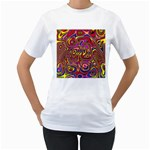 Abstract Shimmering Multicolor Swirly Women s T-Shirt (White) (Two Sided)