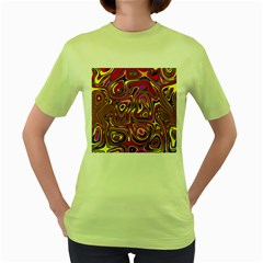 Abstract Shimmering Multicolor Swirly Women s Green T Shirt