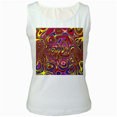 Abstract Shimmering Multicolor Swirly Women s White Tank Top