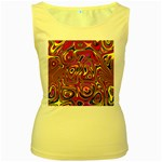 Abstract Shimmering Multicolor Swirly Women s Yellow Tank Top