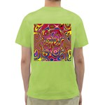 Abstract Shimmering Multicolor Swirly Green T-Shirt Back