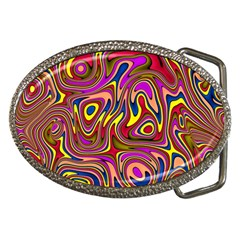 Abstract Shimmering Multicolor Swirly Belt Buckles