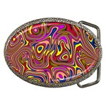 Abstract Shimmering Multicolor Swirly Belt Buckles Front