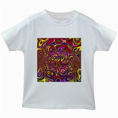 Abstract Shimmering Multicolor Swirly Kids White T-Shirts