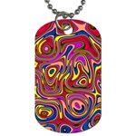 Abstract Shimmering Multicolor Swirly Dog Tag (One Side) Front