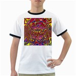 Abstract Shimmering Multicolor Swirly Ringer T-Shirts