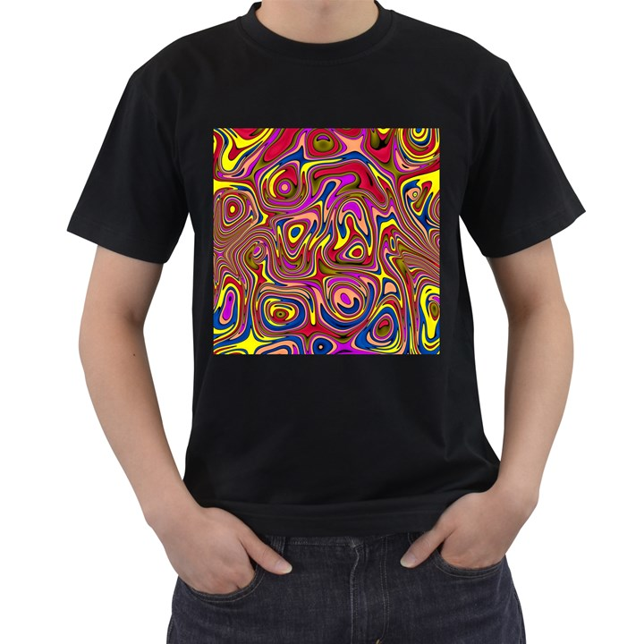 Abstract Shimmering Multicolor Swirly Men s T-Shirt (Black) (Two Sided)