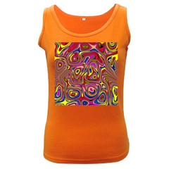 Abstract Shimmering Multicolor Swirly Women s Dark Tank Top