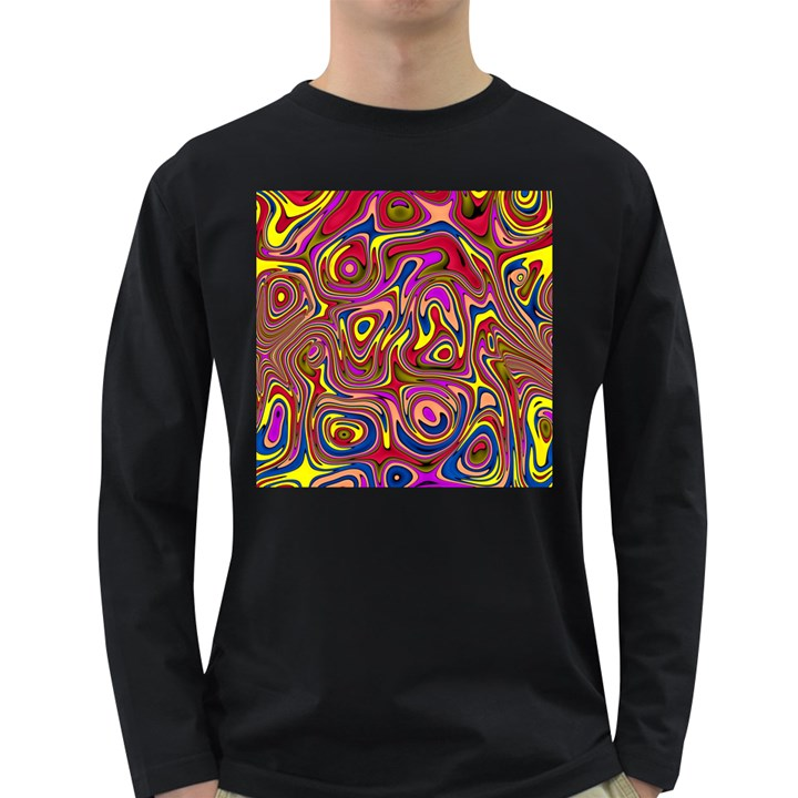 Abstract Shimmering Multicolor Swirly Long Sleeve Dark T-Shirts