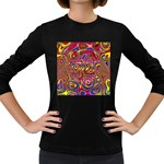 Abstract Shimmering Multicolor Swirly Women s Long Sleeve Dark T-Shirts