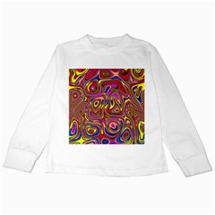 Abstract Shimmering Multicolor Swirly Kids Long Sleeve T Shirts