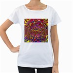 Abstract Shimmering Multicolor Swirly Women s Loose-Fit T-Shirt (White)