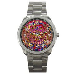 Abstract Shimmering Multicolor Swirly Sport Metal Watch