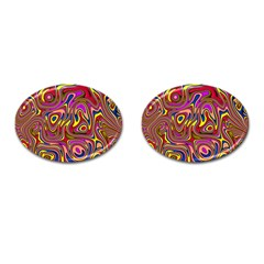 Abstract Shimmering Multicolor Swirly Cufflinks (oval)