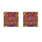 Abstract Shimmering Multicolor Swirly Cufflinks (Square)