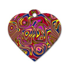Abstract Shimmering Multicolor Swirly Dog Tag Heart (two Sides) by designworld65