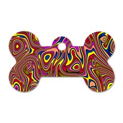 Abstract Shimmering Multicolor Swirly Dog Tag Bone (One Side)