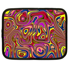 Abstract Shimmering Multicolor Swirly Netbook Case (Large)